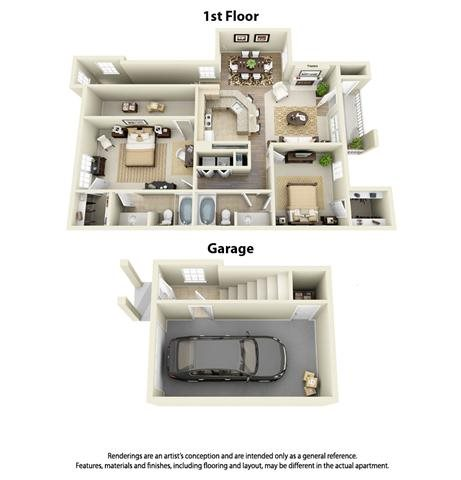 Plan B1 - 2 Bed 2 Bath Floor Plan 3
