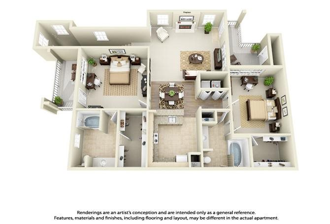 Plan B2 - 2 Bed 2 Bath Floor Plan 4