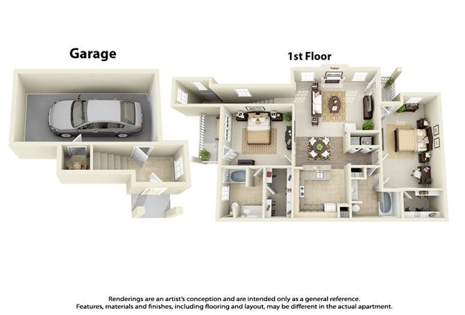 Plan B3 - 2 Bed 2 Bath Floor Plan 5