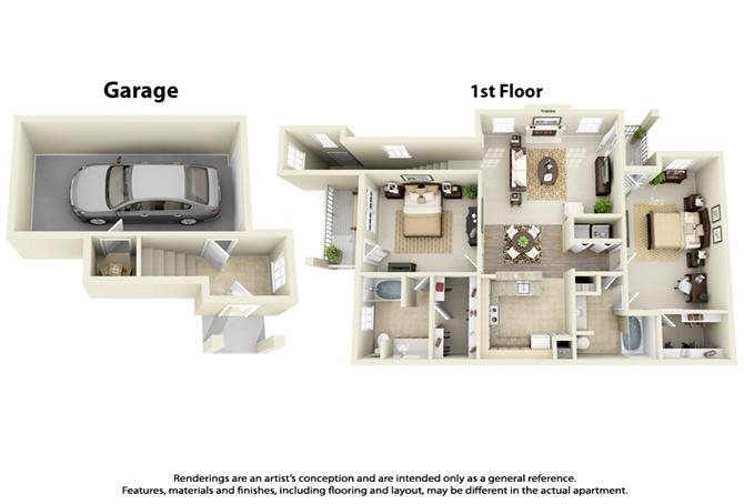 Plan B4 - 2 Bed 2 Bath Floor Plan 6