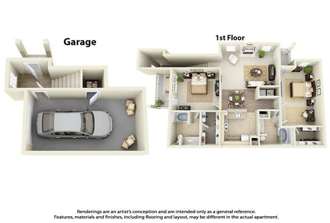 Plan B5 - 2 Bed 2 Bath Floor Plan 7