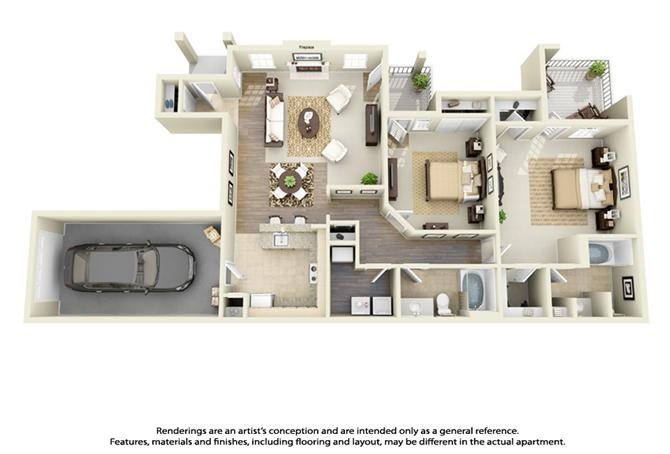 Plan B6 - 2 Bed 2 Bath Floor Plan 8