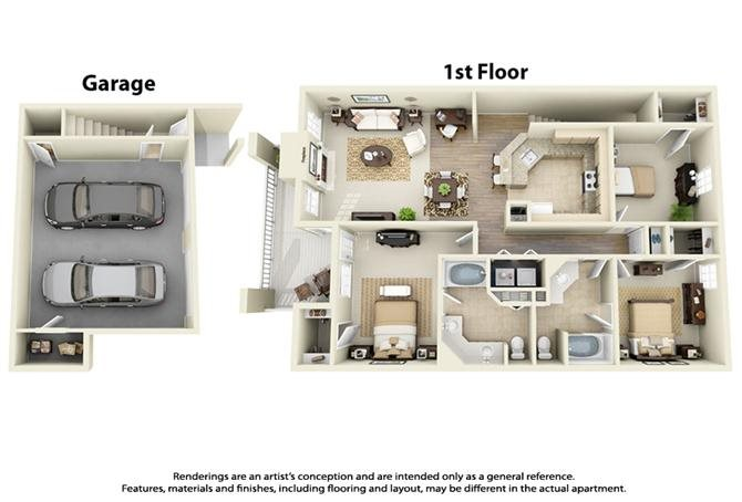 Plan C1 - 3 Bed 2 Bath Floor Plan 9