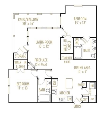 Bandera 2x2 Floor Plan 9