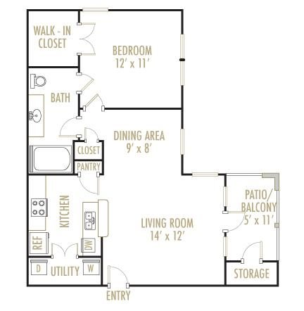 Brazos 1x1 Floor Plan 1