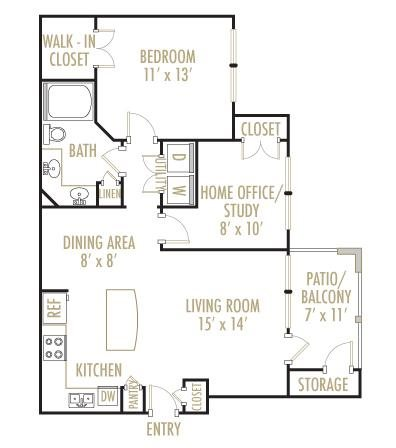 Colorado 1x1 Floor Plan 5
