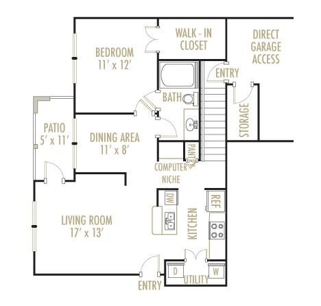 The Sabine 1x1 Floor Plan 3