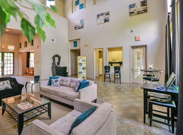 Spacious Clubhouse foyer with coffee station at Greysons Gate in North Dallas, TX, For Rent. Now leasing 1, 2 and 3 bedroom apartments.