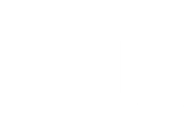The Vue logo in white
