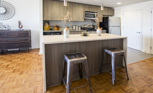 The Vue apartment kitchen with quartz counter tops