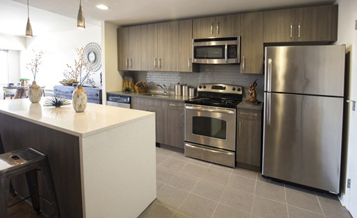 The Vue apartment kitchen with stainless steel appliances