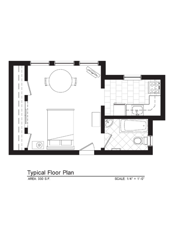 Cornelia Suites Furnished Studio Floor Plan 1