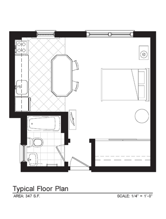 Sonoma Furnished Studio Floor Plan 1