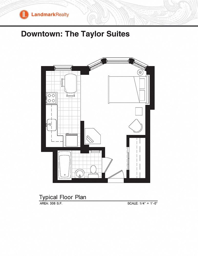 Furnished Studio Floor Plan 1