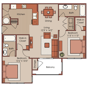 Two Bedroom, Two Bath-B1