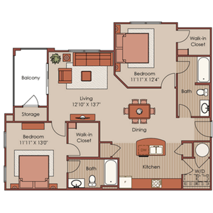 Two Bedroom, Two Bath-B2