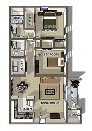 The Charleston floor plan at Summerville Station Apartments for rent in Summerville