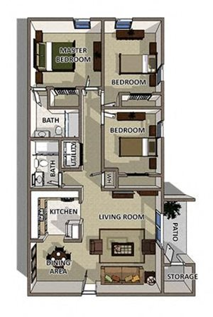The Savannah floor plan at Summerville Station Apartments in Summerville SC