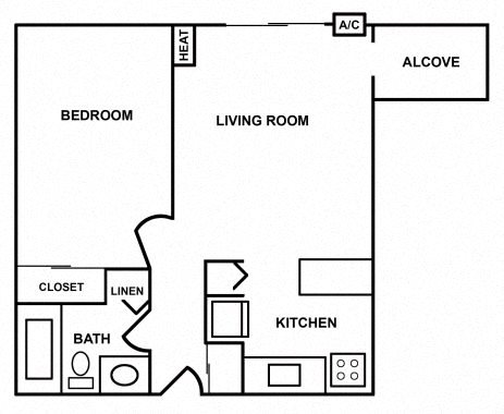 1 Bedroom w/Alcove Apartment Floor Plan 1