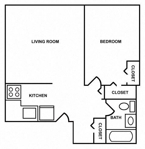 1 Bedroom/1 Bath Floor Plan 3