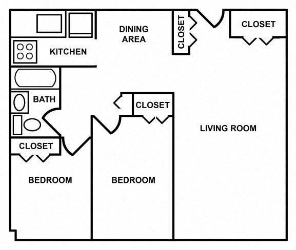 2 Bedroom/1 Bath Floor Plan 2