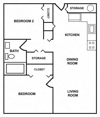 2 BEDROOM APARTMENT Floor Plan 4