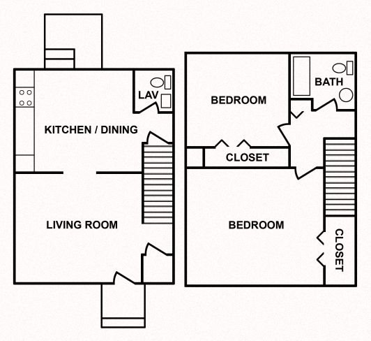 2 Bedroom Town Home Floor Plan 3