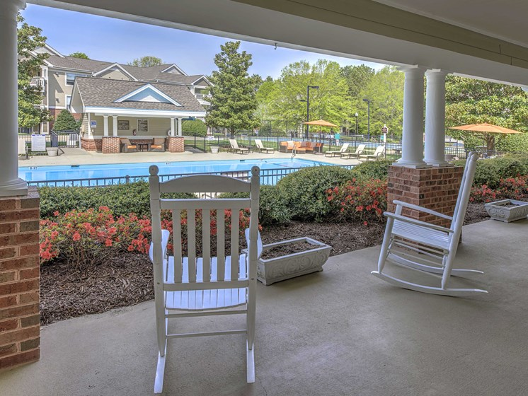 Poolside Lounge and Relaxing Area at Cambridge Apartments, North Carolina