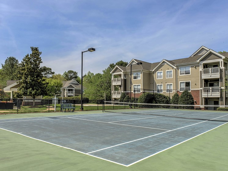 Outdoor Lighted Tennis Court at Cambridge Apartments, Raleigh, 27615