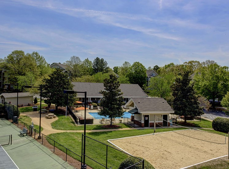 Aerial View of Sand Volleyball Court at Cambridge Apartments, North Carolina