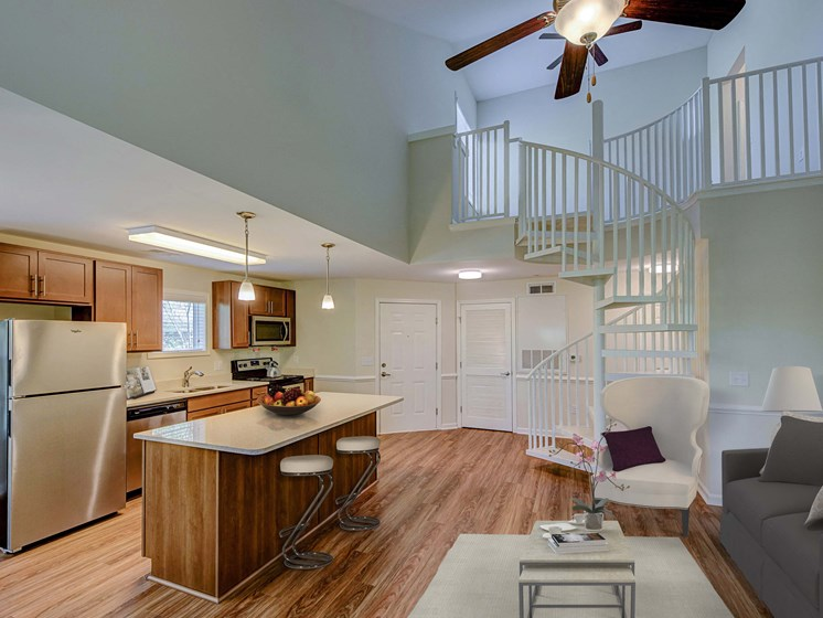 Kitchen Island with Pendant Lighting at Cambridge Apartments, Raleigh, NC 27615
