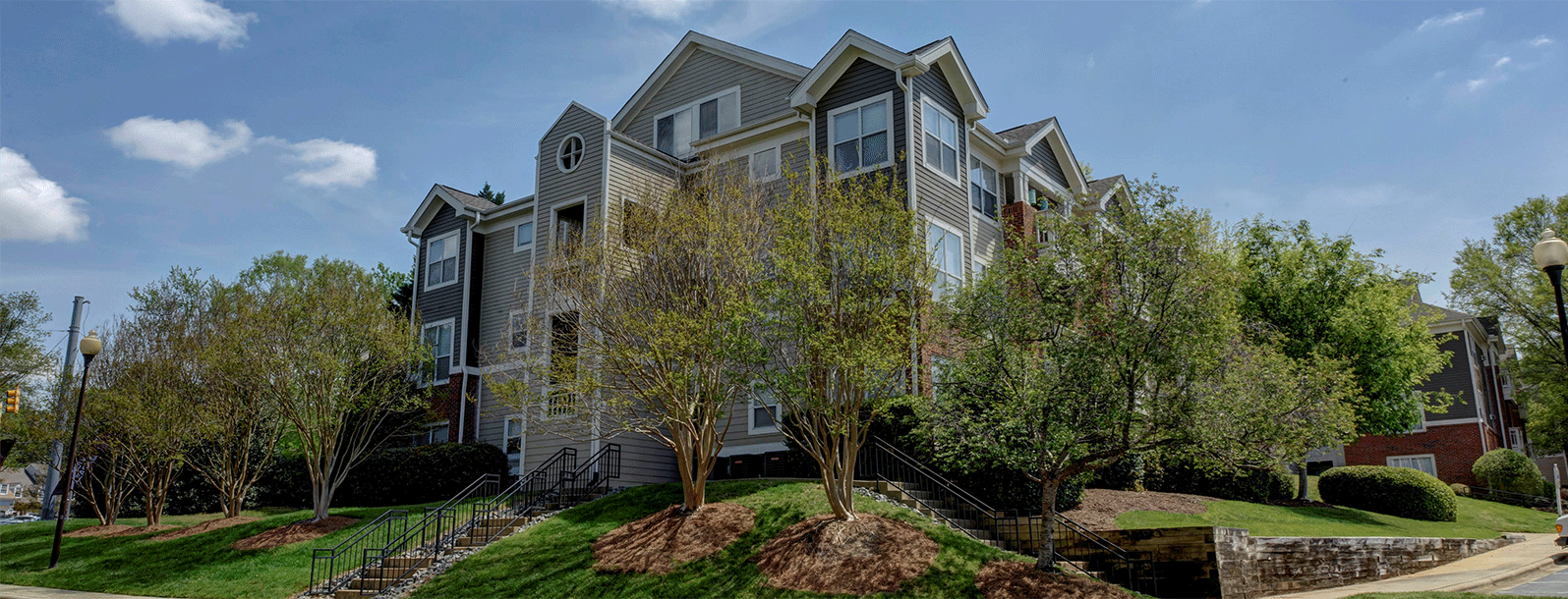 Beautiful Landscaping and Park-like Setting at Cambridge Apartments, Raleigh