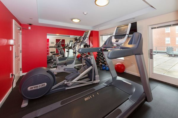 Newly Renovated Fitness Room with Precor Equipment and Free Weights at Marion Square, Brookline