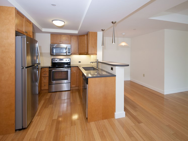Contemporary Kitchen Finishes at Marion Square, Brookline,Massachusetts