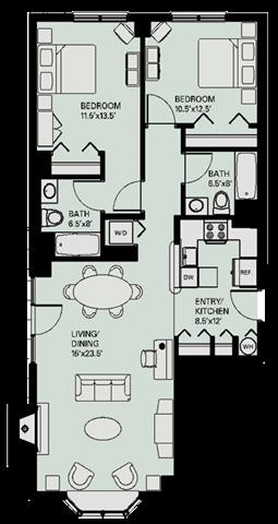 Floor plan at Marion Square, Massachusetts, 02446