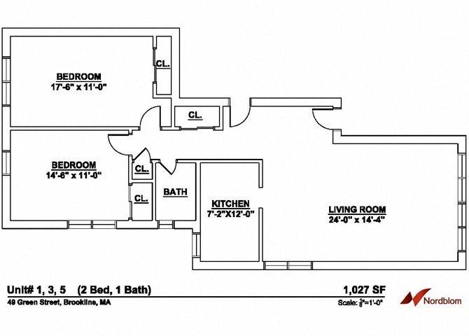Floor plan at Green Street, Massachusetts, 02446