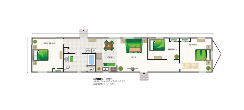 3 Bed 1 Bath Hope Floor Plan at Valley Ridge Rental Homes at 8671 SW Loop 410, San Antonio, TX 78242