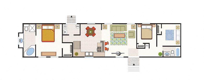 3 Bed 2 Bath Solitaire Floor Plan at Valley Ridge Rental Homes at 8671 SW Loop 410, San Antonio, TX 78242