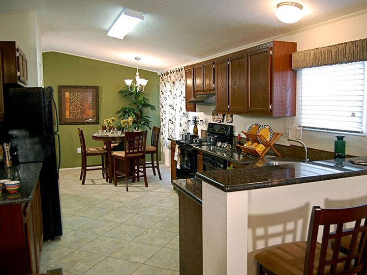 Kitchen and Dining Space at Valley Ridge Rental Home Community in San Antonio