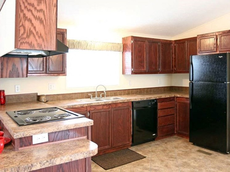 Fully-Equipped Kitchen at Valley Ridge Rental Home Community in San Antonio, TX