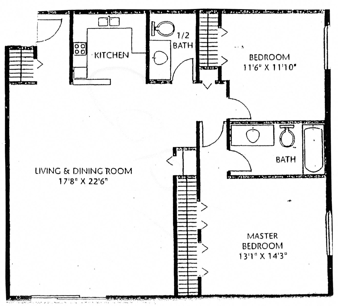 2 Bedroom 1.5 Bath F Floor Plan 1