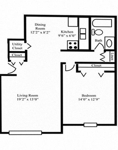 1 Bedroom 1 Bath A Floor Plan 2