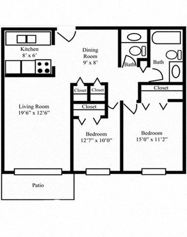 2 Bedroom 1.5 Bath D Floor Plan 3