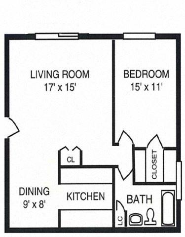 1 Bed 1 Bath - Garden Level
