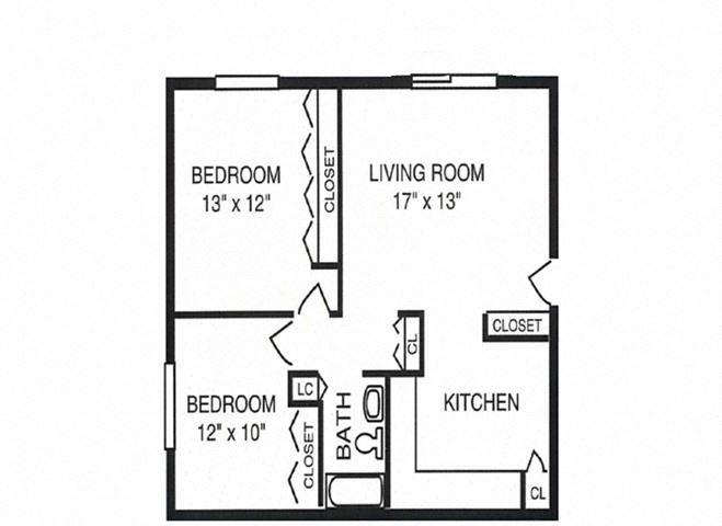 2 Bed 1 Bath - Garden Level