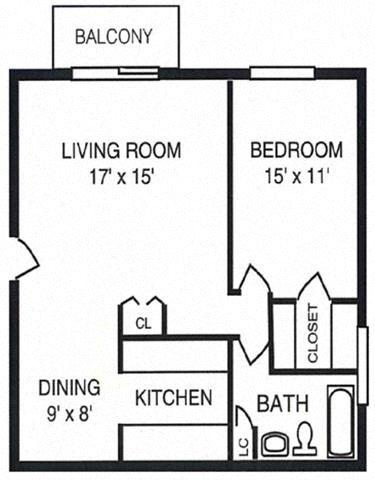 1 Bed 1 Bath w/Balcony