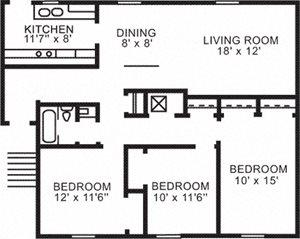 3 BR Garden Apartment