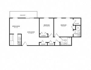 2 BR 2 Bath Apartment