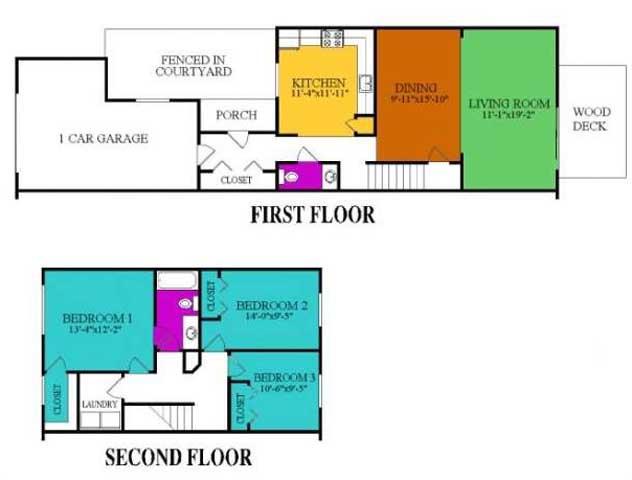 3 Bedroom 1.5 Bath Townhome Floor Plan 3