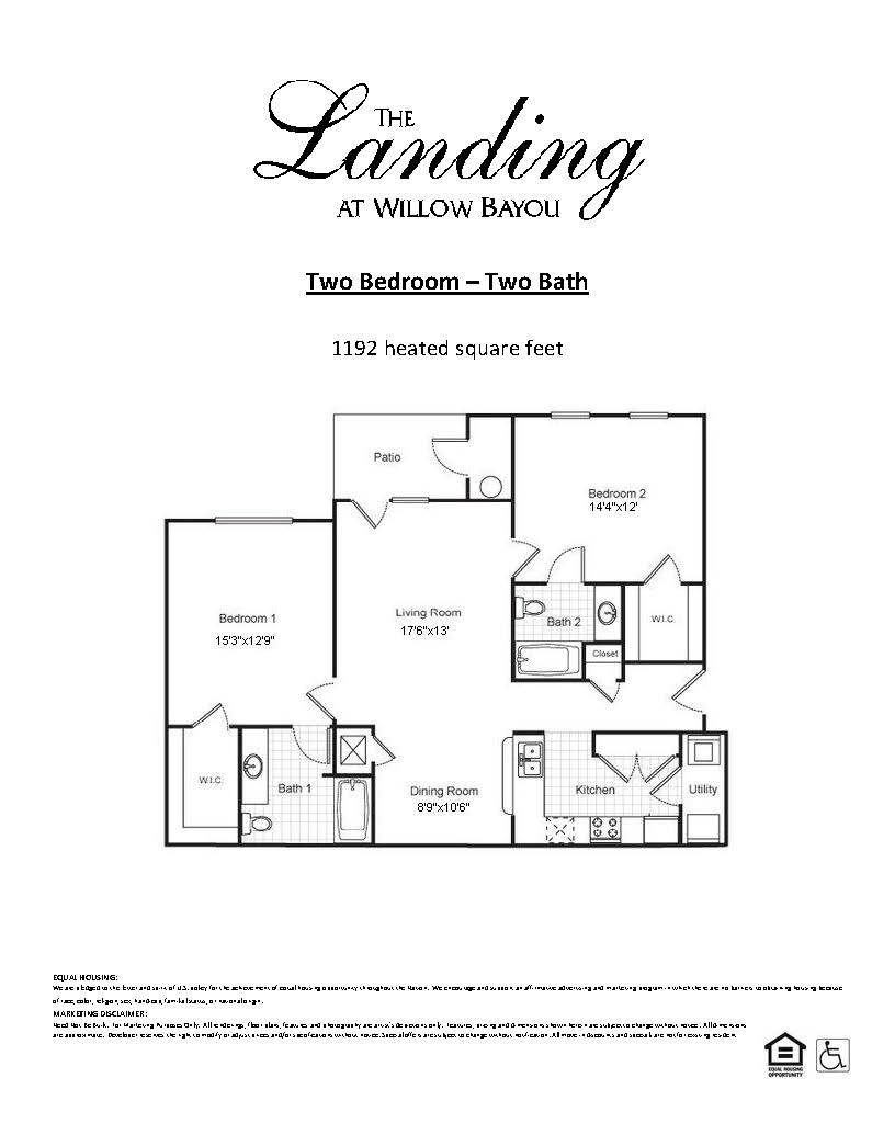 Two Bedroom, Two Bathroom, Floor Plan